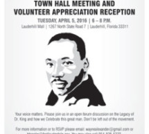 Town Hall Meeting & Volunteer Appreciation Reception – Tuesday, April 5, 2016 – 6 – 8 P.M.