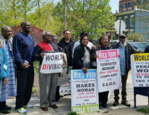 "Dick Gregory attends 'protesters rally at World Vision"" against discriminatory employment practices"