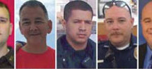 Faces of the five police officers killed by the sniper in Dallas