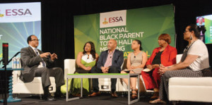 Dr. Benjamin F. Chavis, Jr., the president and CEO of the NNPA (far left), makes remarks during the National Black Parents Town Hall Meeting on Educational Excellence at the National Harbor in Oxon Hill, Md., on June 20, 2017. The panelists (from left-right) included Teia Hill, medical director of Fightin4Lives, LLC; Chris Stewart, president and CEO of the Wayfinder Foundation; Lynn Jennings, the director of national and state partnerships of Education Trust, Marietta English, the president of National Alliance of Black School Educators; and Elizabeth Primas, the program manager of the NNPA/ESSA Media Campaign.                                                 (Roy Lewis/NNPA)