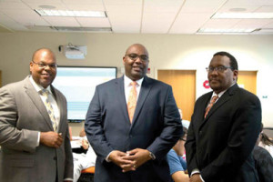 From, l to r:  Desmond Stephens, Ph.D., Maurice Edington, Ph.D., and Lewis Johnson, Ph.D. Dr. Stephens works  with STEM.