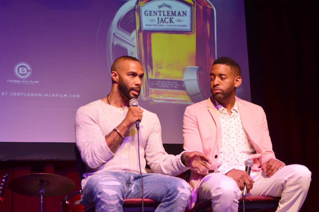 Omari Hardwick and Anthony Rose on stage at Gentlemen Jack's Real to Reel event at the Fillmore Theatre on South Beach.