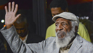 This photo was taken of Dick Gregory during a rally against police brutality at the African American Civil War Memorial in Washington, D.C.             (Elvert Barnes/Flickr)