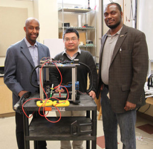 FAMU-FSU College of Engineering professors, Tarik Dickens and Hui Wang, with the Department of Industrial and Manufacturing Engineering, and Carl Moore, with the Department of Mechanical Engineering.
