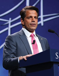 "Anthony Scaramucci lasted 10 days as White House Communi-cations Director. In this photo, SkyBridge Capital found er Anthony Scaramucci speaks at the 2016 SkyBridge Alternatives ""SALT"" Conference at the Bel-lagio Resort & Casino in Las Ve-gas, Nev. (Jdarsie11/Wikimedia Commons"