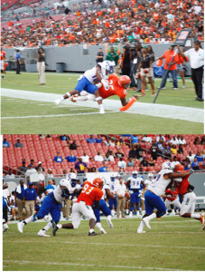 FAMU's Devin Bowers (25) beats TSU defender Dajour Nesbeth to the pylon for a FAMU touchdown. FAMU Defender De'Montre Moore (93) and Elijah Price (far Right) put pressure on TSU offense, but picture shows Price being held by the lineman. Prince was spotted being held on several occasions with no flag in sight. (Photos Credit Richard A. Moore)