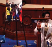 Congresswoman Sheila Jackson Lee takes a knee on the House floor