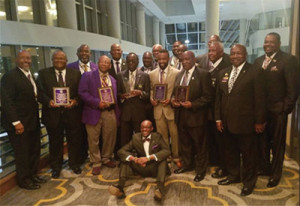 L-r: Rufus Curry, Jr. Calvin Lamar, Sr., Cosey Proctor, Sam Clear, Moses Barnes,   Founder James L. Jones, Daryl Johnson, John Wimberly, Gary Torrence, Jr. Walter Brooks, Terry Brown, Feirmon Johnson, D.J. Dowling, Robert Bailey,  William Lyons, and Kenneth Pace. Seated: Cyril Guerra, Jr.