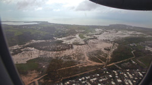 Flooding can be seen from the air as a U.S. Customs and Border Protection, Air and Marine Operations, DHC-8 prepares to land in Aguadilla, Puerto Rico.  U.S. Customs and Border Protection/Wikimedia Commons)