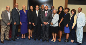 L to R: Rep. Benjamin F. Chavis, Jr., the president and CEO of the NNPA, Dorothy Leavell, the chairman of the NNPA and Rep. Al Green (D-Texas) pose for a photo after a meeting on Capitol Hill with NNPA members. (Freddie Allen/AMG/NNPA)