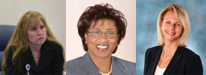 (Left to R - Former Broward Health General Counsel Lynn Barrett (c) Broward Health CEO Pauline Grant and Former Broward Health Commissioner Maureen Canada