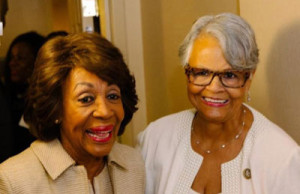 Congressional Maxine Waters and Congresswowan Bonie Watson-Coleman at Women's Power Luncheon in New Jersey.