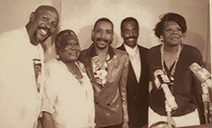 Herman LeVern Jones (second from the right) pictured with Esther Rolle, Dr. Maya Angelou, Louis Gossett and Larry Leon Hamlin during the 1989 National Black Theatre Festival, a festival Jones helped start that has raised over $700 million for the City of Winston-Salem, North Carolina.