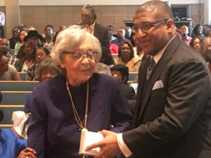 Carrie Thomas, who has been a member for 84 years and Pastor Frank Kennedy, Jr.
