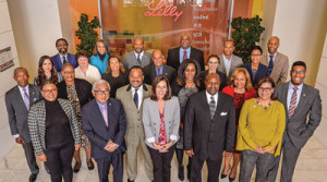 A group of leaders from national multicultural organizations, including Ron Burke from the NNPA (center, gray jacket, blue shirt), visited Eli Lilly headquarters to learn more about the pharmaceutical industry's role in the healthcare system  (Eli Lilly and Company)