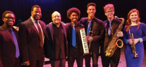 Dillard jazz band director Christopher Dorsey & Nat Adderley Jr., pose with a few members of the DCA Jazz Ensemble