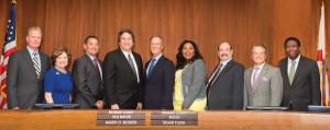 L to r: Commissioner Tim Ryan, Commissioner Nan Rich, Commissioner Michael Udine, Vice Mayor Mark D. Bogen, Mayor Beam Furr, Commissioner Barbara Sharief, Commissioner Steve Geller, Commissioner Chip LaMarca, and Commissioner Dale V.C. Holness.