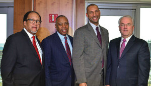Dr. Benjamin F. Chavis, Jr., the president and CEO of the NNPA; Dr. Calvin Mackie, a motivational speaker and founder of STEM NOLA; Spencer Overton, the president of the Joint Center for Political and Economic Studies; and Jack Gerard, the president and CEO of the American Petroleum Institute, pause for a photo a during a panel discussion about diversity and inclusion in the oil and natural gas industry at George Washington University in Washington, D.C. (Freddie Allen/AMG/NNPA)