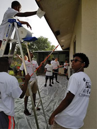 Pictured are volunteers in the project along with brothers of Kappa and Kappa Leaguers.