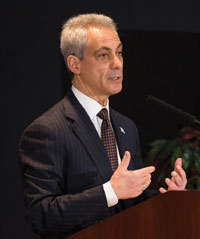 Mayor Rahm Emanuel called the report a testament to the hard work, progress and success of Chicago's remarkable students, teachers, principals and families. In this photo, Emanuel speaks during the White House Summit on Working Families Chicago Regional Forum at the Ralph Metcalfe Building in Chicago, Ill., April 2014. (Andrew A. Nelles/U.S. Department of Labor)