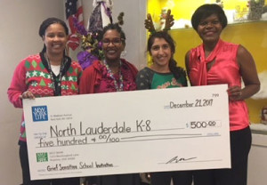 General Office presents a $500 Grief-Sensitive Program Grant check to Nicole Neunie (Assistant Principal), Nichele Williams (Principal)and Alyssa Matricinno (Language Pathologist) of the school. The grant will be used to develop a plan to activate when a student suffers a loss, or a death occurs in the school community.