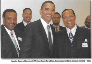 Pictured from left to right are: Minister Farrakhan's son-in-law, Leonard Farrakhan Muhammad; His son and security chief, Mustapha Farrakhan; U. S. Sen. Barack Obama; Minister Farrakhan's son Joshua Farrakhan; Minister Louis Farrakhan, and the Rev. Willie F. Wilson, pastor of D.C.'s Union Temple Baptist Church.