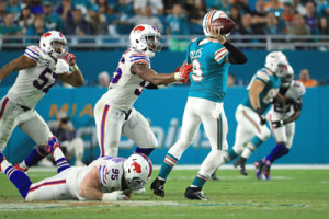 Miami Dolphins BQ David Fales stays posied in the pocket.