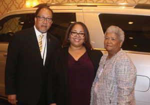 L to r: Dr. Benjamin F. Chavis, Jr., the president and CEO of the NNPA; Renah Carlisle, the sales zone manager for Ford's Phoenix Region; and Dorothy Leavell, the chairman of the NNPA pose for a photo during the 2018 NNPA Mid-Winter Conference in Las Vegas, Nevada. (Marty Frierson/NNPA)