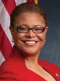 Representative Karen Bass says that hard-earned progress will never be safe so long as bigotry, hatred and racism hold power.