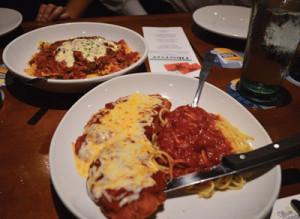 Fettuccine Alfredo and Chicken Parmigiana.