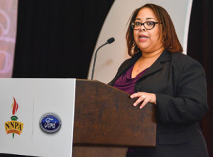 """Renah Carlisle, a sales zone manager for Ford's Phoenix Region said that both Ford and the NNPA support STEAM initiatives and """"it is a reminder to our children, that the impossible is possible."""" Ford officials made the announcement about the new STEAM column, during the 2018 NNPA Mid-Winter Conference in Las Vegas.                                       (Freddie Allen/AMG/NNPA)"""