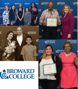 Audrey Ring, Adriana Ficano, Lisa Barnes, Lilia Ciciolla and Dr. Rosalind Osgood; Donald Cleveland and Mildred Coyne, Executive Director of Workforce Education and Economic Development at Broward College; keynote speaker, James Oyola with his family and Esther Garnier and Mildred Coyne, Executive Director of Workforce Education and Economic Development at Broward College.