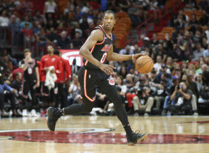 Miami Heat guard Josh Richardson (0) brings the ball up court against the New Orleans Pelicans during the second half of an NBA basketball game, Saturday, Dec. 23, 2017, in Miami. The Pelicans defeated he Heat 109-94.  (AP Photo/Joel Auerbach)