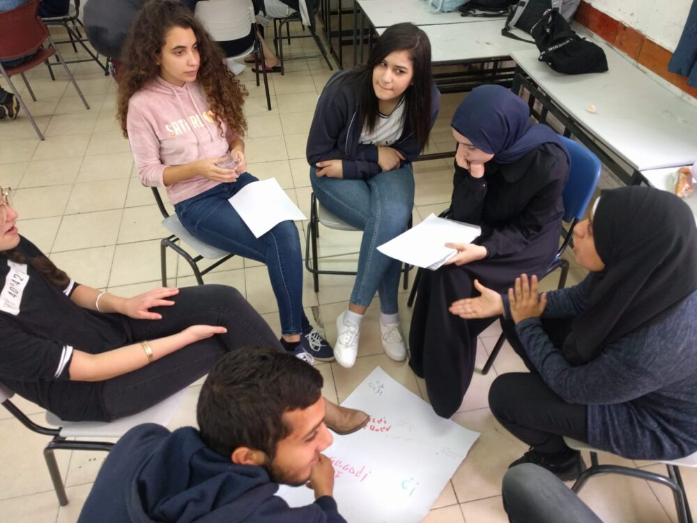 Studying together and develop joint research projects for the civic matriculation exams. Photo courtesy of A New Way
