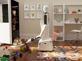 Gary the robot straightening up toys. But it can do so much more. (Courtesy of Unlimited Robotics)