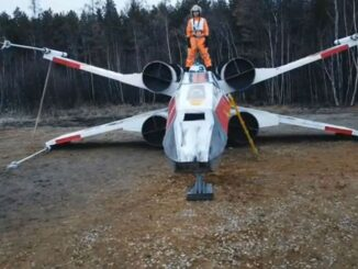 """A replica of the X-wing Starfighter from """"Star Wars"""" was built in Sakha, Russia, by six cosplayers. (Ayaal Federov/Zenger)"""